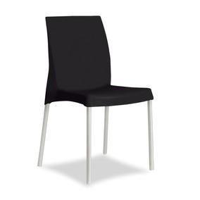 Cadeira Classic Plastica Com Pes Aluminio - Preta