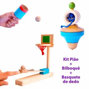 Kit Brinquedos De Madeira - Pião - Bilboque - Mini Cesta