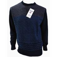 Suéter Azul Marino Con Gris Cuello Redondo