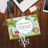 Tarjeta De Invitacion Digital Safari Kit Imprimible