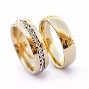 Par Aliança Noivado Casamento Aço Inox Banhada A Ouro Strass