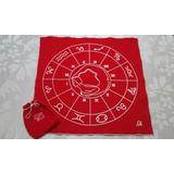 Paño De Tarot Astrológico + Bolsa Para Cartas En Pañolenci