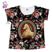 Blusa Feminina Plus Size Cavalo Moldura Country Tshirt