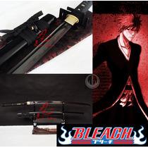 Espada Katana Corte Afiada Zangetsu Bleach Aço Negro T-10