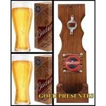 Kit Bar Budweiser Abridor Madeira De Parede + 02 Copos Budw
