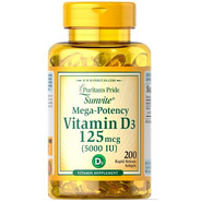 Vitamina D3 5.000iu C/200 Softgels Puritan's Importado
