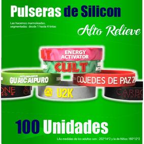 Pulseras Silicon 100% Personalizadas Alto/bajo Relieve