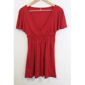 Vestido Mini Algodòn Rojo Escote Cruzado Talle S