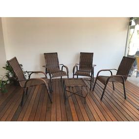 Jogo Com 4 Cadeiras + 1 Namoradeira + Mesa De Centro
