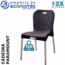 Cadeira Plastico Polipropileno Pé Aluminio Paramount Preto