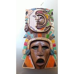 Mascara Del Guerrero Jaguar Con Calendario Maya, En Madera