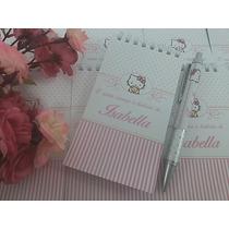 Bloquinho + Caneta Lembrança De Nascimento Hello Kitty