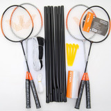 Kit Vollo Badminton 4 Raquete + 3 Petecas + Rede E Suportes