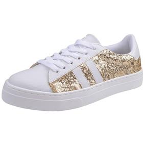 Tênis Feminino Louise Prado Glamour Branco Glitter Dourado