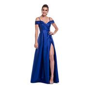 Vestido Zibeline Fenda Azul Serenity Rose Gold Marsala Royal