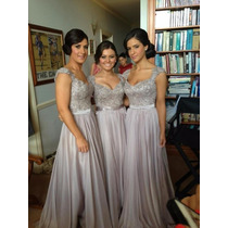 Vestido De Festa Cinza/casamento/madrinha/formatura/15 Anos