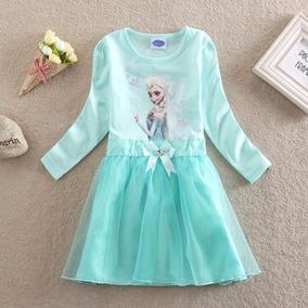 Vestido Importado Frozen Elsa Manga Larga