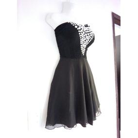 Vestido Negro De Licra Talla Ch Con Piedras