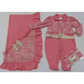 Kit Saida De Maternidade Bebê Menina Paraiso Lurex Ref 7061