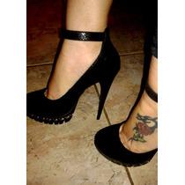 Lindo Sapato Preto Meia Pata Com Corrente Dourada