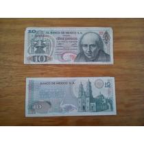 Lote De 8 Billetes Antiguos 10 Pesos Hidalgo
