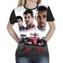 Camiseta Blusa Esportes Personalizada Formula1 2015 Feminina