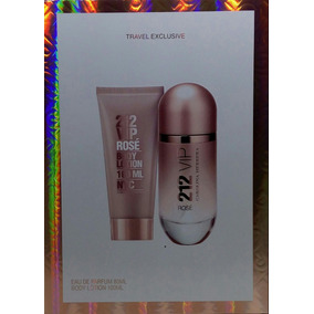 Kit 212 Vip Rose Perfume 80ml + Body Lotion 100ml Original