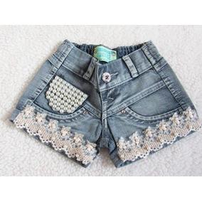 Short Jeans Infantil Menina Barato Festa Tam 2