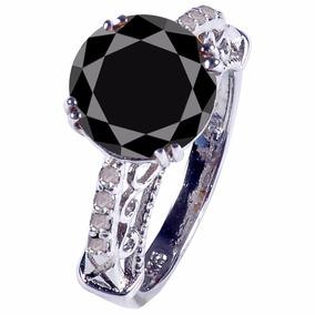 Anillo Con Diamante Negro Jet 2.85 Qt Certificado #7-1195
