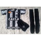 Kit Conjunto Infantil Botafogo Uniforme Camisa Calção Meião c67b5b880069a