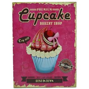 Placa Decorativa Cupcake - Cozinha Quadro Bolo 24x18cm