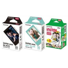 Kit Filmes Instax Fujifilm: Black 10 + Blue 10 + White 20