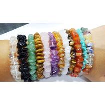 Pulseira Cascalho Pedra Natural/ametista,cristal,ônix,citrin