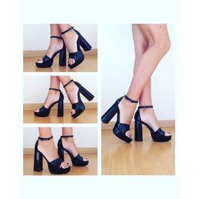 Zapatos De Taco Mujer Plataforma Negro Charol Nuevos