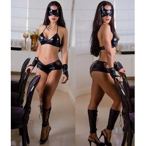Fantasia Feminina Sexy Mulher Gato Short Sensual Lingerie