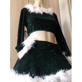Conjunto Adulto Mamãe Noel Fantasia Natalina Saia+blusa Luxo