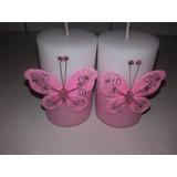 Velas Para Ceremonia De 15 ,decorados Con Mariposas/flor5x8