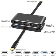 Adaptador Hub Tipo C Hdmi Usb3.1 4k Power Delivery Vga Jack