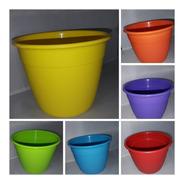 Pack X 2 Macetas Reforzadas 24 Cm Plastico Varios Colores