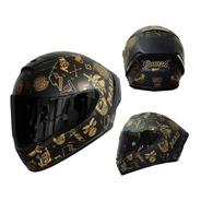 Casco Para Moto Kov Aircut Smash Oro Negro Mica Humo