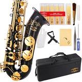 Glory Negro / Oro B Flat Tenor Saxofón Con Caja, 10pc Cañ...
