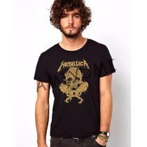 Camiseta Metallica Rock Exclusiva Camisa Caveira