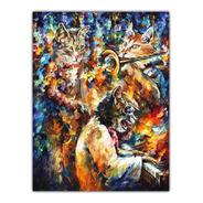 Foto Poster Afremov 50cmx65cm Obra Jam Cats Pra Decorar Casa