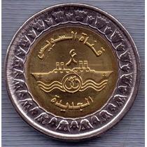 Egipto 1 Pound 2015 Bimetalica * Canal De Suez *