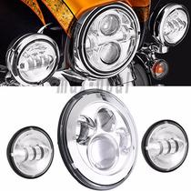 Farol Projetor Led + Auxiliares Harley Davidson Touring
