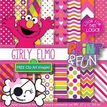 Kit Imprimible Pack Fondos Elmo Clipart