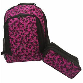Kit Escolar Com Mochila E Estojo Duplo Estampa Caveiras Rosa