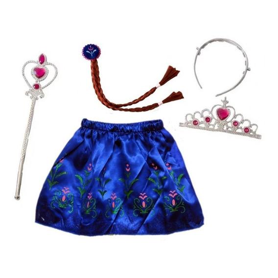 Kit Disfraz Anna Elsa Frozen Pollera Accesorio Pelo Nt Edu