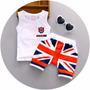 Kit Shorts + Regata Bebê Bandeira Reino Unido Inglaterra