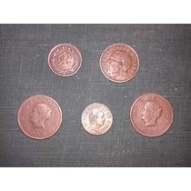 Lote 5 Monedas De Centavos Historicos Jurez-josefa Ortiz